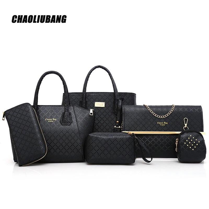 New 6 Pcs/ Set Women Handbags PU Leather Women casual Totes shoulder Bag +Messenger Bag+Purse +clutch Composite Bag-3637<br>