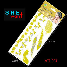 2017 Real Hot Sale 1pcs Metallic Hair Tattoos Waterproof Gold Non-toxic Temporary Tattoo Stickers And Inspired Flash
