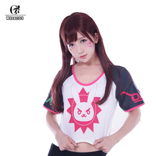 Women T Shirt Cosplay Game PlayWatch Magazine Cover Girl T shirt D.Va Hana Song Mercy Angela Ziegler Huge Rez Cosplay Costumes(China)