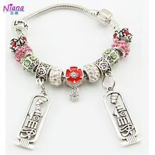 NIANA 2016 Ancient  Silver Jewelry Friendship Charm Bracelet Red Beads Bracelets & Bangle For Women Pulseira