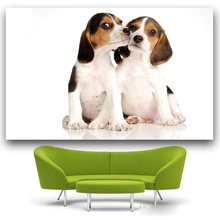 2016 New Arrival Canvas Painting Puppies Couple Beagle wall art poster print Pictures For living room Decor Modular Pictures