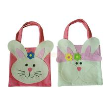 Pack of 2 Lovely Easter Rabbit Bunny Handbag Fabric Tote Kids Gift Egg Bags Carrying Bags(China)