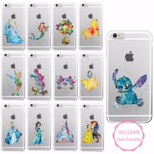 Watercolor Tinkerbell Mickey Stitch Mermaid Princess Lion King Poof Bear Soft Phone Case Coque For iPhone 6 6Plus 7 7Plus 8Plus(China)
