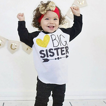 Big Sister Girls T Shirts Funny Letter Baby Girl Clothes Toddler Long Sleeve T-shirts Tiny Cotton China imported cheap clothing(China)