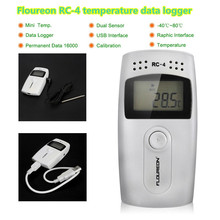 Floureon RC-4 USB Temperature Data logger Datalogger Mini LCD Digital Temperature Recorder Built-in External Sensor 16000 Points