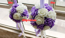 New!!!  (19cm /15cm) Foam Rose Ball W/Ribbon Handle  Kissing Ball In Purple+White    *FREE SHIPPING *