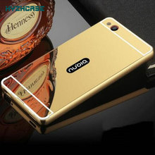 Fashion Luxury Rose Gold Silver Black Beauty Frame Mirror Case For ZTE Nubia Z9 Max Back Shell Housing