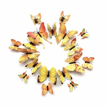 NAIYUE 12pcs PVC 3D Butterfly Wall Decor Cute Magnet Butterflies Wall Stickers Art Decals Home Decoration(China)