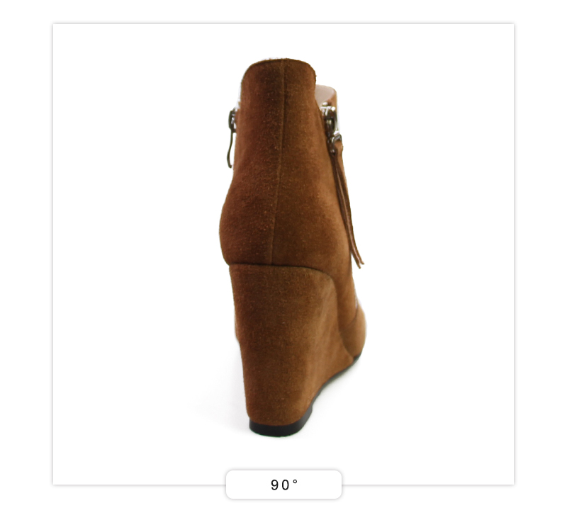 ISNOM Full Leather Women Boots High Wedges Shoes Woman Zipper Female Footwear Cow Suede Ankle Boots Short Plush Ladies Shoes