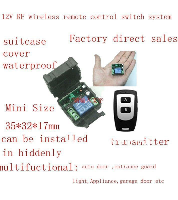 Free shipping 12V RF wireless remote control switch system( transmitter and receiver )/ 315MHZ/433MHZ with learning button<br><br>Aliexpress