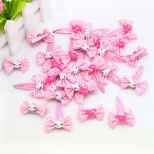 2017 New 8 pieces/set Girls Hello Kitty Hair Accessories Pink little bit Hairpins Cute child flower Bowknot Hair Clip