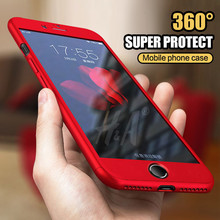 Buy 360 Degree Full Cover Red Cases iPhone 6 6s 7 5 5s Case wish Tempered Glass Cover iphone 7 7Plus 6s plus Phone Case Capa for $3.05 in AliExpress store