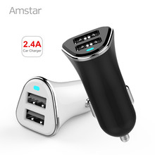 Amstar Car Charger Dual USB Car-Charger Fast Charging 2.4A Car Chargers Adapter Competiable with Most Phones Tablet PC(China)