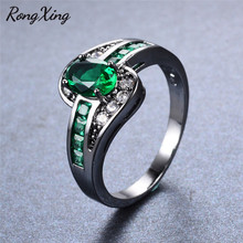 RongXing Vintage Green AAA Zircon Rings For Women Birthday Gift Wedding Fashion Jewelry Black Gold Filled May Birthstone Ring