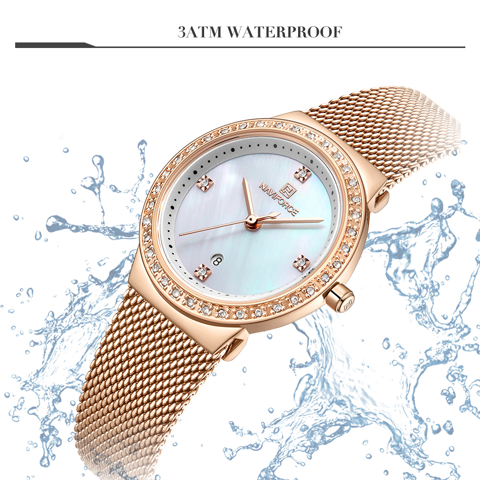 NAVIFORCE New Rose Gold Women Watch Business Quartz Watch Ladies Top Brand Luxury Female Wrist Watch Girl Clock Relogio Feminin (3)