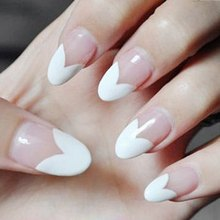 Fashion 24 PCS Hot Sale Transparent Fake Nails Heart Pattern Design Half White Oval Full Cover Nails Tips