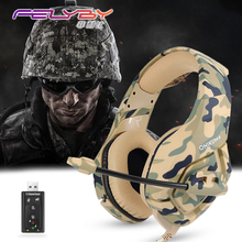 Camouflage army green Noise canceling gaming headphones for computer PS4 PSP phone 3.5mm + USB Wired headphone with Microphone(China)
