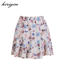 hirigin 2017 Newest Arrivals Women Retro Vintage Floral Print Skirt Female Ladies High Waist Flared Pleated Casual Stylish Skirt