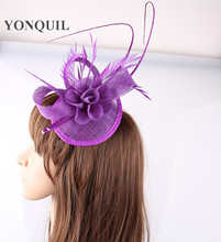 18 Colors Sinamay Purple DIY flower hats derby occasion teardrop fascinators bases with fancy ostrich quill hair hat accessories(China)