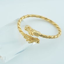 1pcs Womens Men Female Gold Color Rope Bangle Open Cuff Dragon Wrist Bracelets Big Size Jewelry