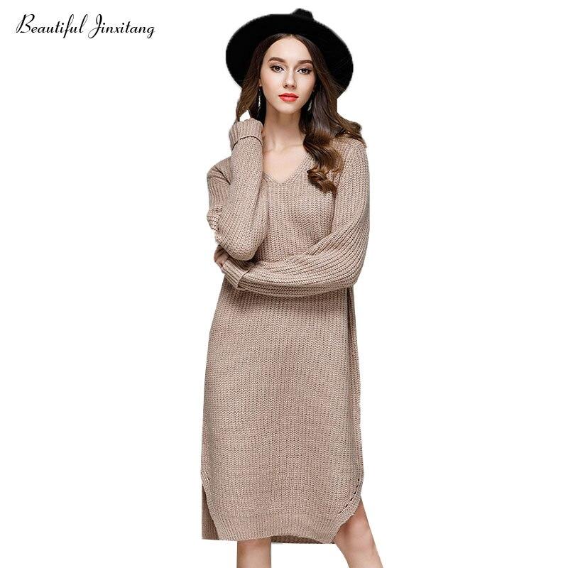 Fashion autumn winter knitted dress women   2017 Korean slim Elegant temperament long-sleeved V-neck loose dresses woman 9 IÎäåæäà è àêñåññóàðû<br><br>