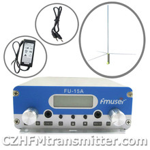 FMUSER FU-15A V1.0 FM stereo PLL broadcast transmitter+1/2wave gp antenna+power adapter+ audio cable 87.5-108MHZ FU-15Amain