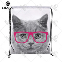 Gray Lovely Big Cat Face with Fuschia Glasses Pattern Print individual Nylon Fabric Drawstring Shoes Storage Dust Bag Pack of 4