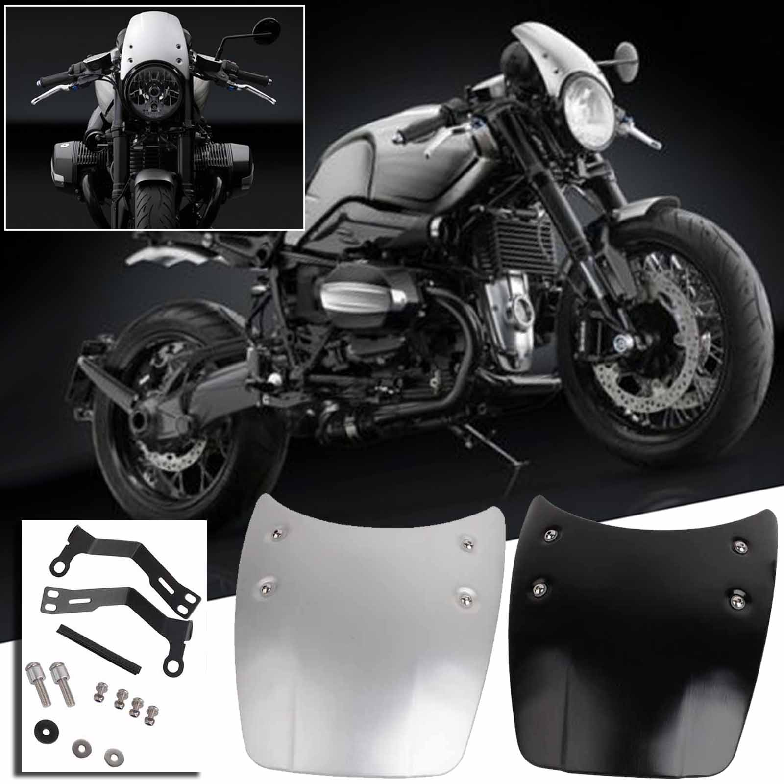 Motorcycle Aluminium Windshield Windscreen Headlight Fairing for BMW R Nine T with Mounting Accessory High Quality Black/Silver