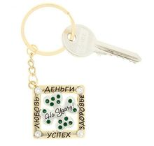 "New Zinc alloy key finder Rhinestone Promotional products key.chain ""clover"" implied meaning good luck and happiness"