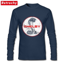2017 Fashion Branded Tees Vintage Logo Shelby Cobra T-Shirt Homme Tall Long Sleeved Classic T Shirt Men's XXL Size Merchandise(China)