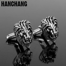 Cufflinks for men 3D The king of forest Lion Head Cufflinks Jewelry Cuff Buttons Cool Cuff links pins Tie Clip&Cufflink