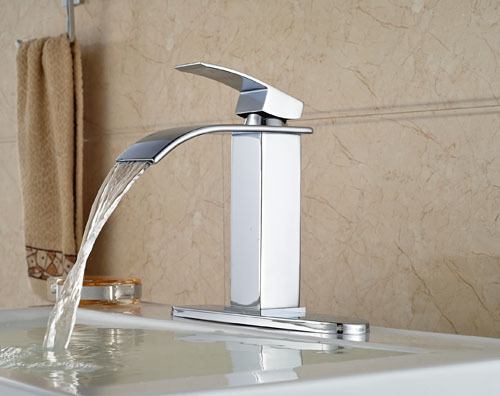 Chrome Finish Brass Bathroom Waterfall Basin Faucet  Single Handle Centerset Mixer Tap With Cover Plate<br><br>Aliexpress