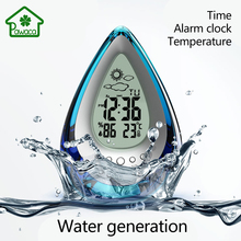 1Pcs Magic Water Powered Digital Alarm Clock No Battery with Calendar Time Date Temperature Weather Forecast Snooze Clock Gifts(China)