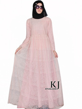 2015 muslim women dress djellaba casual abaya plus size caftan lace long dress turkish dubai robe arab traditional clothing KJ