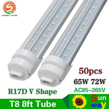 Hot Sale Factory Prices Wholesale 8 ft LED Tube Lights T8 240cm 2400mm 8ft Tube Light R17D V Shape 270 Degree Glowing 65W 72W(China)