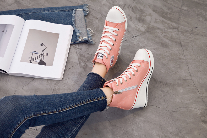 Women's Shoes Hidden Wedge Heel Shoes 18 Women Casual Shoes Canvas Sneakers High Top Breathable Platform Chaussure Femme 16