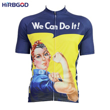 HIRBGOD Hot Women Cycling Jersey Short Sleeve Summer Breathable Bike Bicycle Clothing We Can Do It Type Mountain Bike Wear,HI158