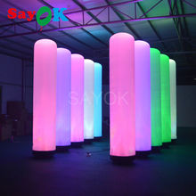 2m/2.5m/3m inflatable long tube,custom inflatable pillar with color-changing led pillar light for wholesale