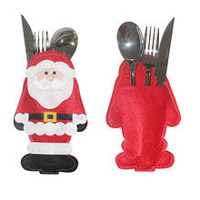 Hot Santa Claus Christmas Cutlery Holder Bags Fork Spoon Pockets Decor Snowman Silverware Holders ornaments tables wholesale