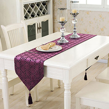 Fudiya 3D Hollow Snowflake Table Runner Modern Solid Polyester Geometry Table Cloth With Tassels Hollow Table Runner Purple