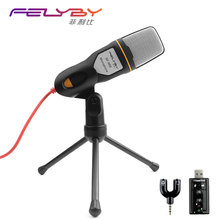New Condenser Microphone Professional Sound Podcast Studio Microphones for computer PC phone Laptop Skype MSN Karaoke + PC stent(China)