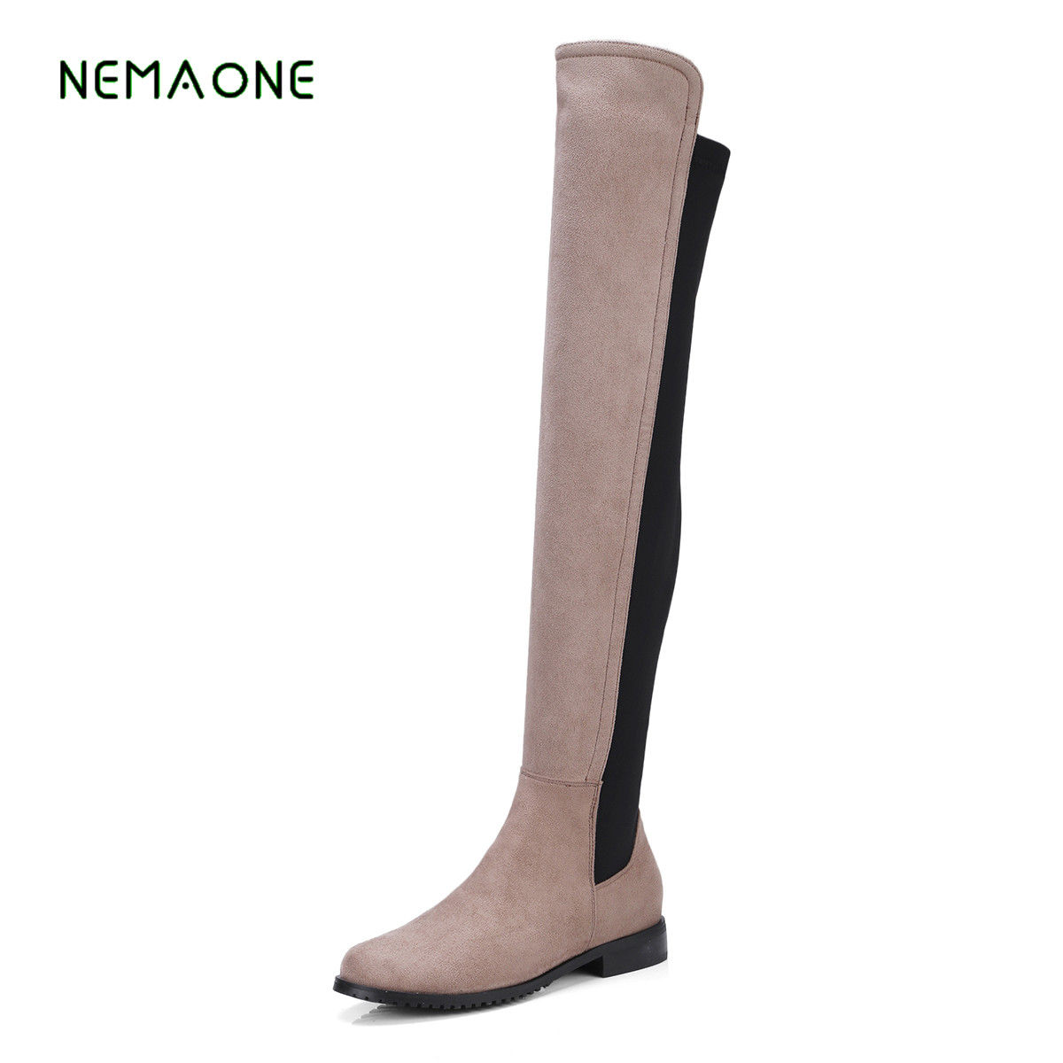 NEMAONE 2017 Shoes Women Boots 5Colors Shoes patchwork Flats Shoes Designer Motorcycle Boots Winter Over the knee Boots<br>