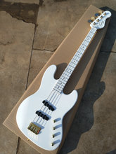 Factory custom Top quality white color 4 strings electric bass guitar with golden hardware,Best sound,Free shipping