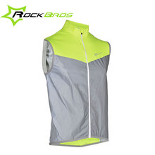 ROCKBROS Sleeveless Cycling Rain Jackets Men Reflective Bike Jackets Wind Coat Windproof Downhill MTB Bicycle Jackets Gilet Vest