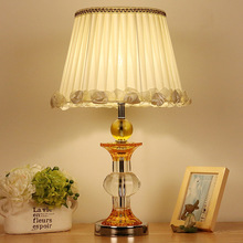 TUDA Free Shipping American Country Style Desk Lamp, Guest Room, Bedroom, Hotel Bed,K9 Crystal Table Lamp(China)