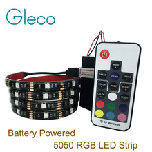 Battery powered 5050 RGB LED Strip Light RGB 1M 2M , IP20 / IP65 with mini 3keys RGB controller / 17Keys RGB  remote control