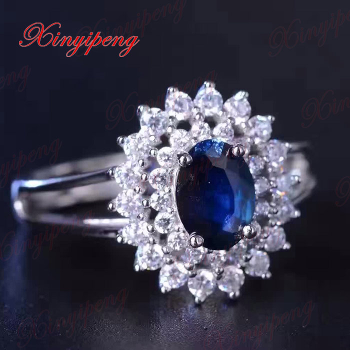 925 silver inlaid 1 carat natural sapphire ring lady  luxurious and beautiful