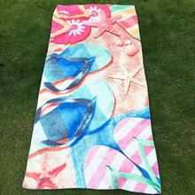 70*147cm Seascape Elements Pattern Printed Beach Towel Polyester Camping Outdoors Travel Mat Yoga Sports towel Swimming Shawl