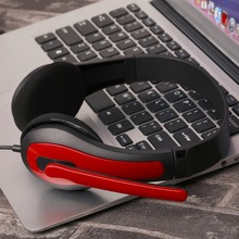 JM-472 Universal Computer Laptop PC Headphone Ergonomic Design 3.5MM Wired Playing Game Headset Red/Blue