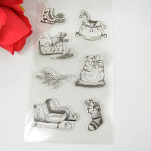 1PCS TPR silicon clear Stamp Christmas sery Stamp Sled Stocking Gift box  DIY Scrapbooking/Card Making/ Decoration Supplies